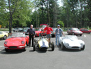 From l-to-r, Quantum III, Bud Clark, Quantum Formula S, George Vapaa, Dave Hosmer, Quantum V. At the '00 SOC.